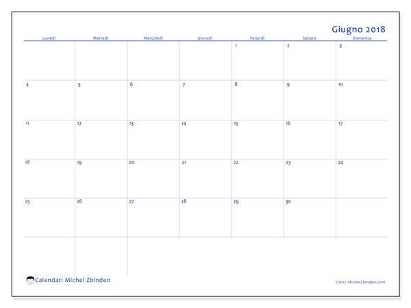 Calendario giugno 2018 (55LD). Calendario per il mese da stampare gratuitamente.