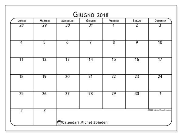 Calendario  giugno 2018, 67LD