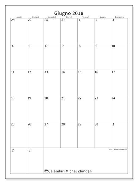 Calendario  giugno 2018, 68LD