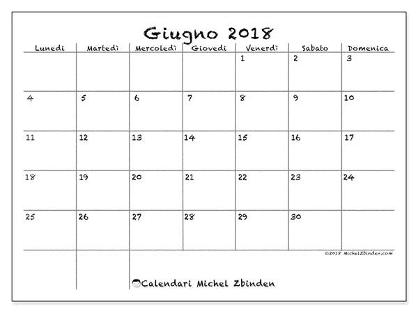 Calendario  giugno 2018, 77LD