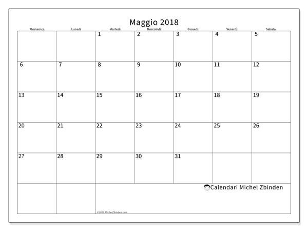 Pagina Calendario Settimanale.Calendario Maggio 2018 53ds Michel Zbinden It