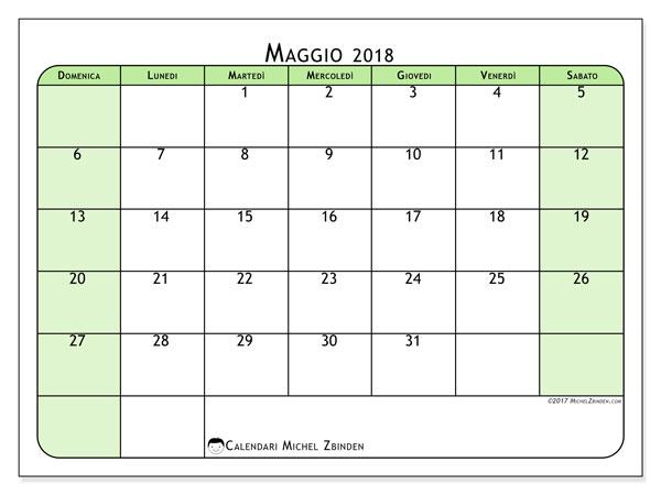Calendario maggio 2018 (65DS). Orario da stampare gratis.