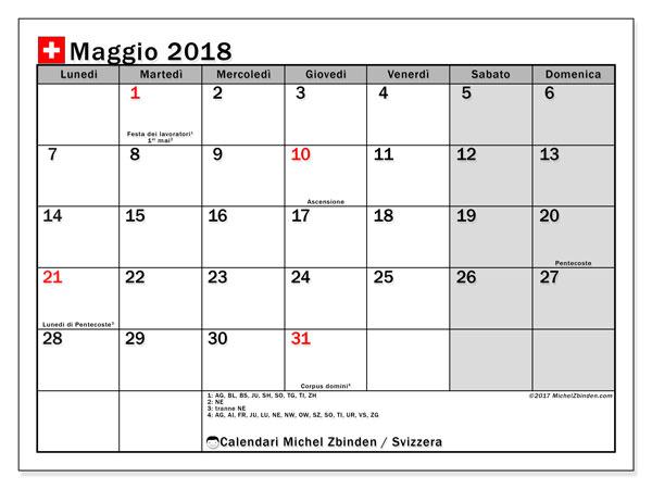Calendari maggio 2018, con giorini festivi della Svizzera. Calendario stampabile gratuito.