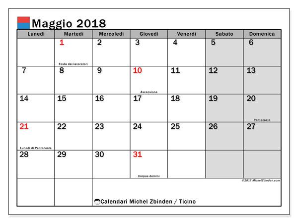 Calendari maggio 2018, con giorini festivi in Ticino. Orario da stampare gratis.