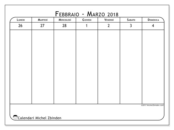 Calendario marzo 2018 (43-1LD). Calendario per la settimana da stampare gratuitamente.