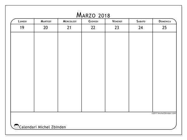 Calendario marzo 2018 (43-4LD). Orario da stampare gratis.