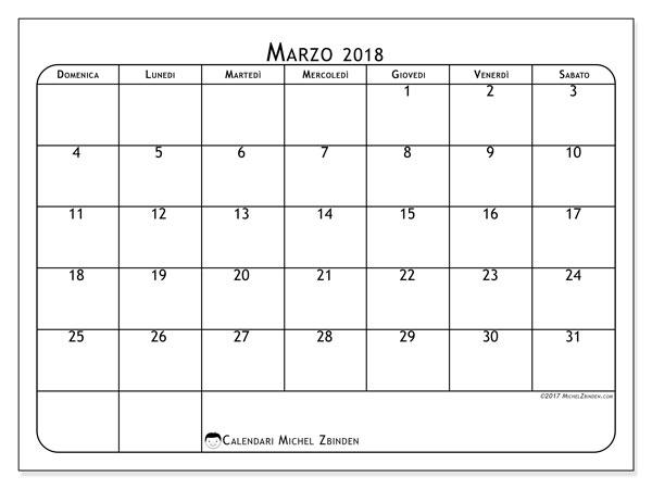 Calendario marzo 2018 (51DS). Calendario gratuito da stampare.