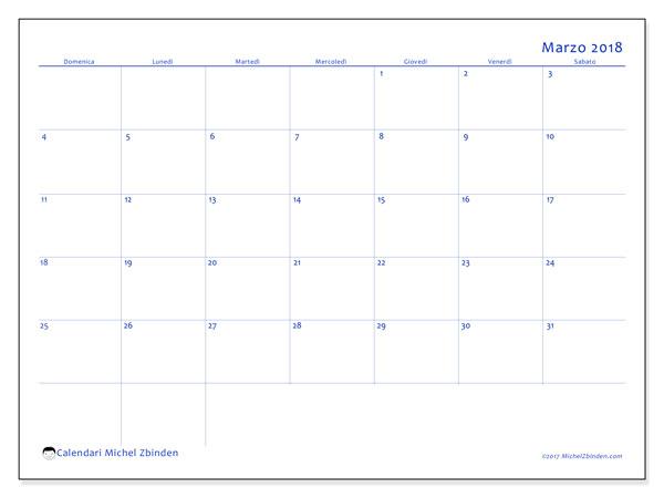 Calendario marzo 2018 (55DS). Calendario mensile da stampare gratuitamente.