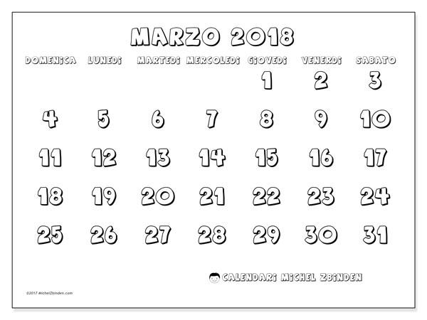 Calendario marzo 2018 (56DS). Orario da stampare gratis.