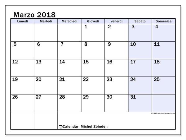 Calendario marzo 2018 (57LD). Calendario da stampare gratis.