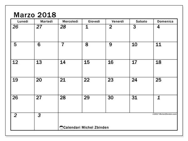 Calendario marzo 2018 (66LD). Calendario per il mese da stampare gratuitamente.