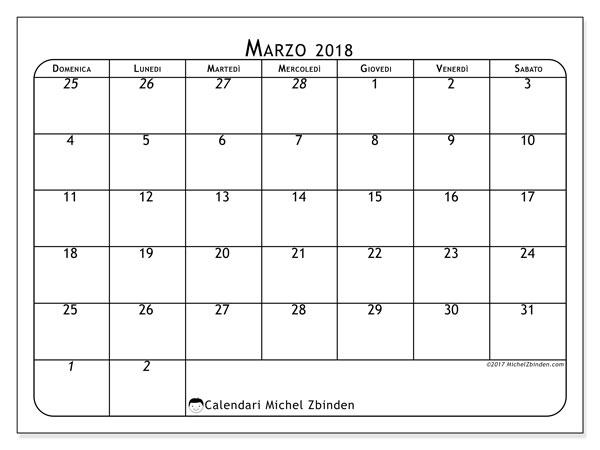 Calendario marzo 2018 (67DS). Calendario per il mese da stampare gratuitamente.