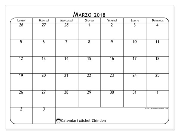 Calendario Marzo 2018 Con Festivita.Calendari Marzo 2018 Ld Michel Zbinden It