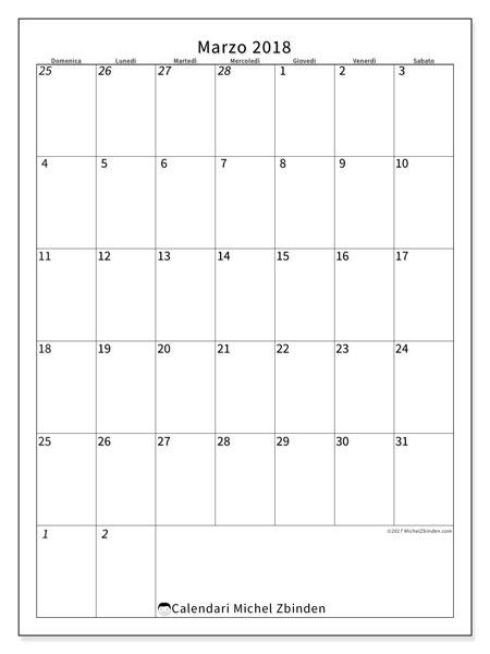 Calendario marzo 2018 (68DS). Calendario per il mese da stampare gratuitamente.
