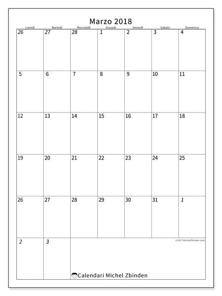 Calendario marzo 2018 (68LD). Orario da stampare gratis.