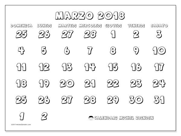 Calendario marzo 2018 (71DS). Calendario per il mese da stampare gratuitamente.