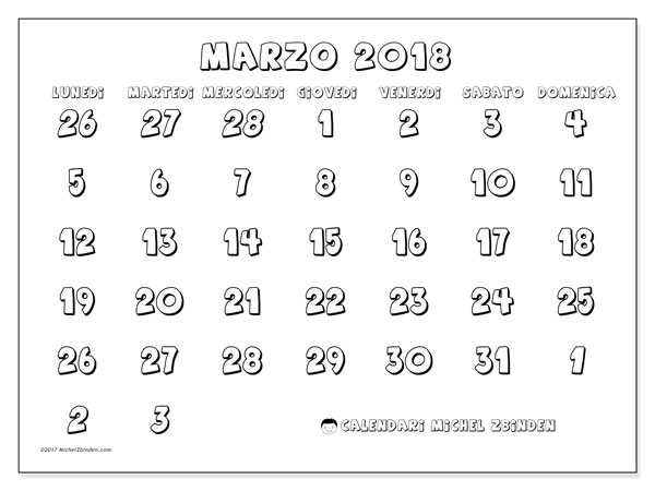 Calendario marzo 2018 (71LD). Calendario stampabile gratuito.