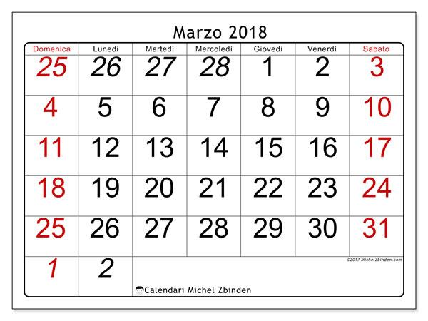 Calendario marzo 2018 (72DS). Calendario gratuito da stampare.