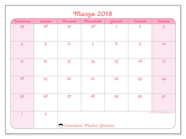 Calendario marzo 2018 (76DS). Calendario gratuito da stampare.