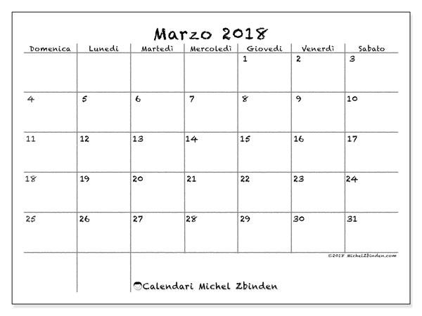 Calendario marzo 2018 (77DS). Calendario mensile da stampare gratuitamente.