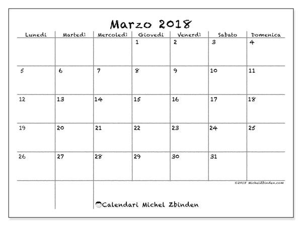 Calendario marzo 2018 (77LD). Calendario per il mese da stampare gratuitamente.