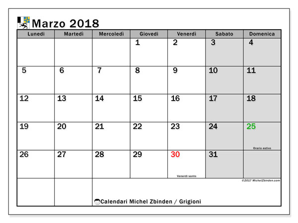 Calendario Marzo 2018 Con Festivita.Calendario Marzo 2018 Grigioni Michel Zbinden It