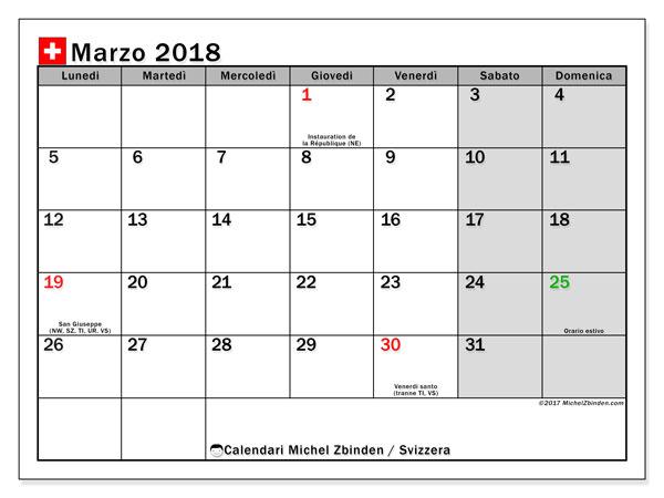 Calendari marzo 2018, con giorini festivi della Svizzera. Orario da stampare gratis.
