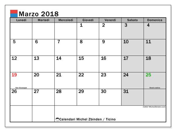Calendari marzo 2018, con giorini festivi in Ticino. Calendario mensile da stampare gratuitamente.