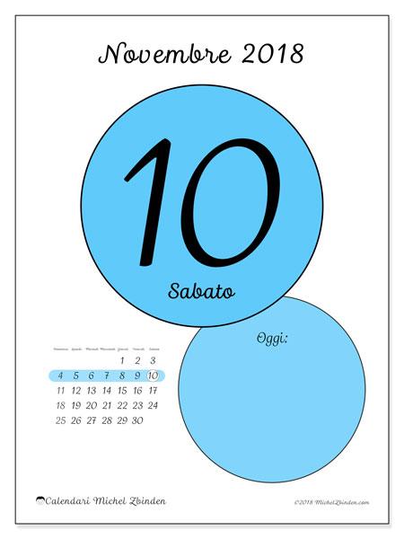 Calendario novembre 2018 (45-10DS). Calendario giornaliero da stampare gratuitamente.