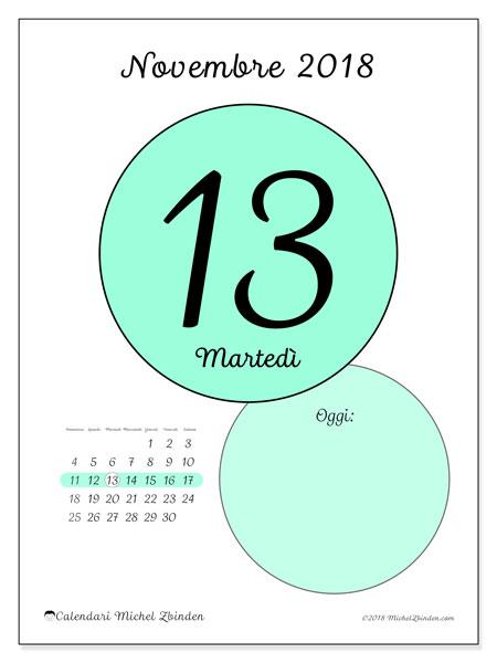 Calendario novembre 2018 (45-13DS). Calendario per il giorno da stampare gratuitamente.