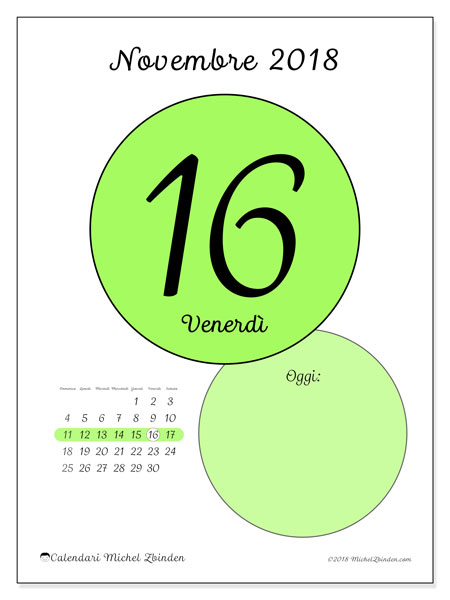 Calendario novembre 2018 (45-16DS). Calendario giornaliero da stampare gratuitamente.