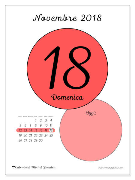 Calendario novembre 2018 (45-18LD). Calendario giornaliero da stampare gratuitamente.
