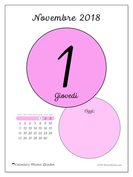 Calendario novembre 2018 (45-1DS). Calendario giornaliero da stampare gratuitamente.