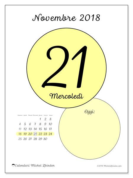 Calendario novembre 2018 (45-21DS). Calendario giornaliero da stampare gratuitamente.