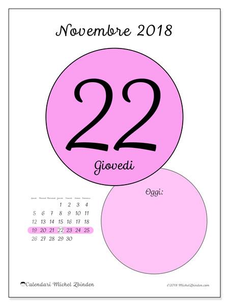 Calendario novembre 2018 (45-22LD). Calendario giornaliero da stampare gratuitamente.