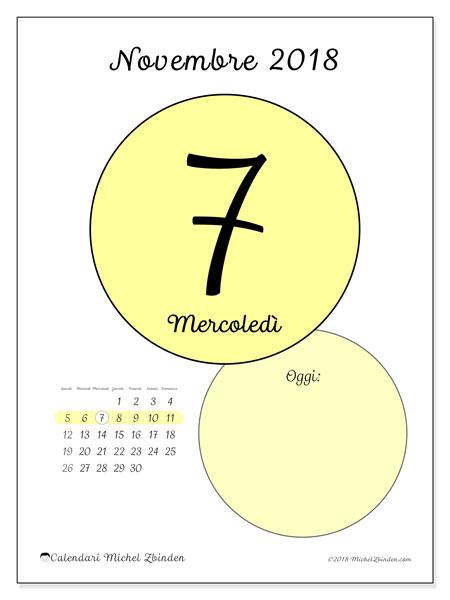Calendario novembre 2018 (45-7LD). Calendario per il giorno da stampare gratuitamente.