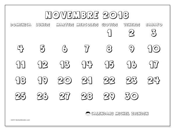 Calendario novembre 2018 (56DS). Calendario per il mese da stampare gratuitamente.