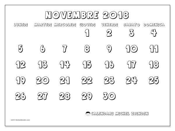 Calendario novembre 2018 (56LD). Calendario da stampare gratis.