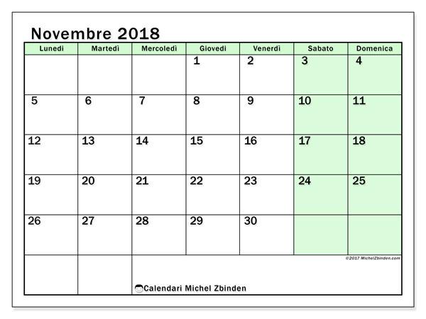 Calendario novembre 2018 (60LD). Calendario gratuito da stampare.
