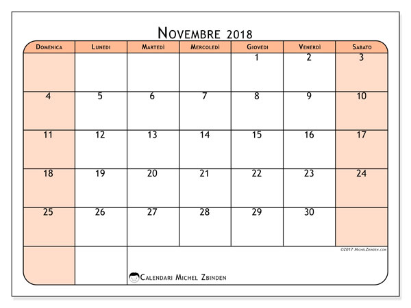 Calendario novembre 2018 (61DS). Calendario stampabile gratuito.