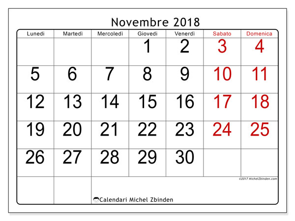 Calendario novembre 2018 (62LD). Calendario per il mese da stampare gratuitamente.