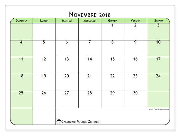 Calendario novembre 2018 (65DS). Calendario stampabile gratuito.