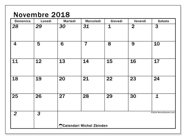 Calendario novembre 2018 (66DS). Calendario per la stampa gratis.
