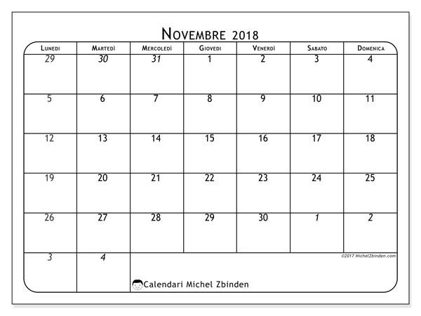 Calendario novembre 2018 (67LD). Orario da stampare gratis.