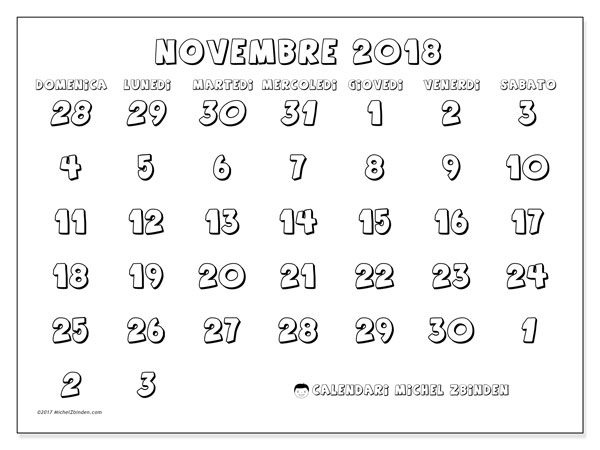 Calendario novembre 2018 (71DS). Calendario stampabile gratuito.