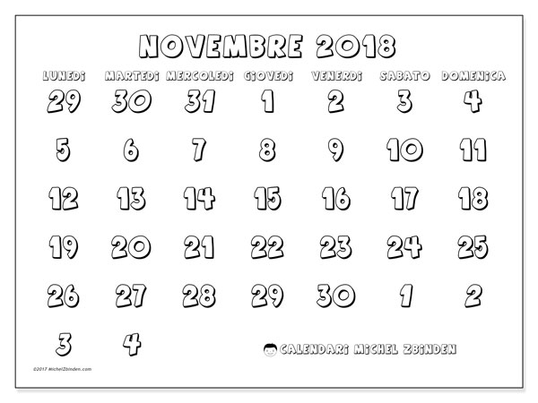 Calendario novembre 2018 (71LD). Calendario per il mese da stampare gratuitamente.