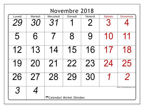 Calendario novembre 2018 (72LD). Calendario stampabile gratuito.