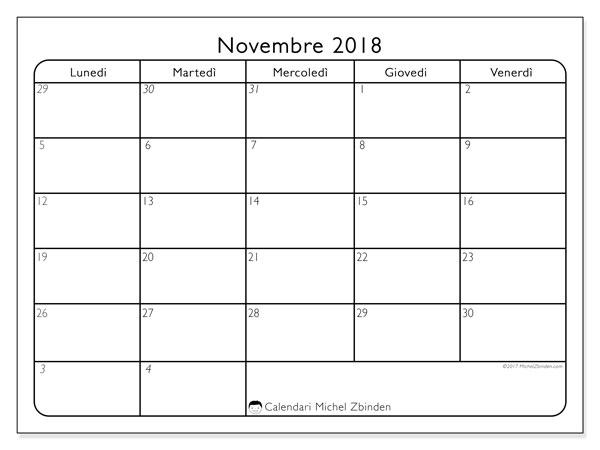 Calendario novembre 2018 (74LV). Calendario stampabile gratuito.