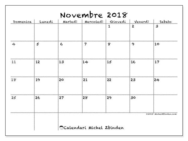 Calendario novembre 2018 (77DS). Calendario gratuito da stampare.
