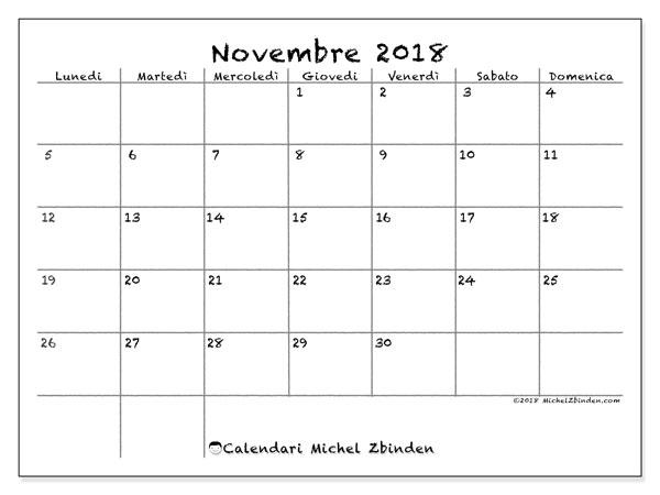 Calendario novembre 2018 (77LD). Calendario per la stampa gratis.